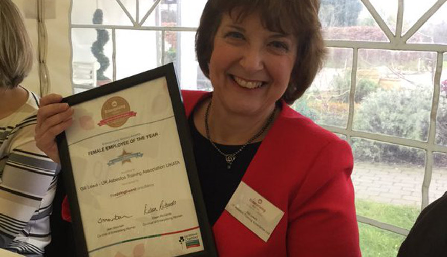 Gill Lewis UK Asbestos Training Association - Receives Highly Commended Award at East Midlands Chamber Enterprising Women Awards 4th March 2016